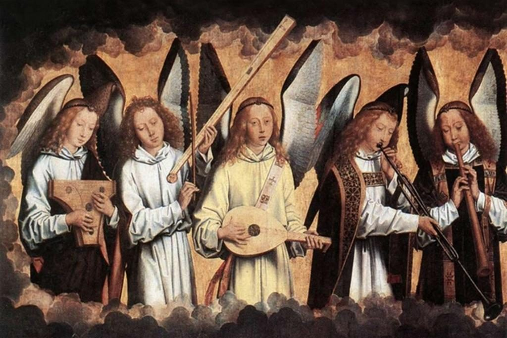 "Hans Memling, ""Angeli musicanti"", particolare, 1480 circa"