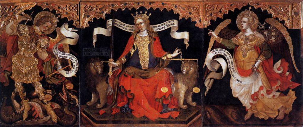 La Giustizia in trono tra gli arcangeli Gabriele e Michele